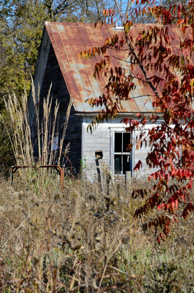 Schoolhouse in fall.